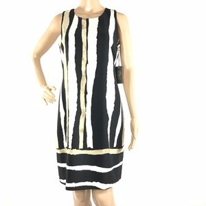 Vince Camuto Black White Stripes Tunic Knee Length